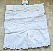 Girls White Shorts Cotton Linen Adjustable Waistband Age 2-3 Years Bnwt