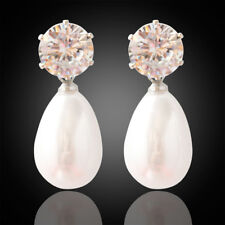 Women Earrings Stud Transparent Crystal White Pearl Drop Pendant Jewelry Gift CB