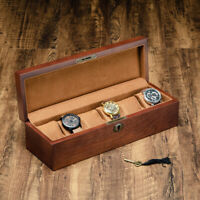 High Class Solid Wood Wooden Display Watch Box Case Chest With Lock 6 Slots