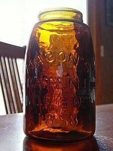 "REPRO 1970's ? Amber Glass MIDGET PINT ""Reverse S"" MASON'S 1858 fruit jar bottle"