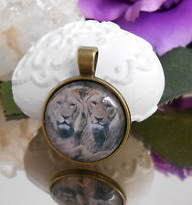 Ketten Anhänger Löwen Glas Cabochon 25 mm Amulett antik gold