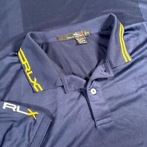 RLX Ralph Lauren Mens XL Navy Blue Polo Performance Short Sleeve Shirt