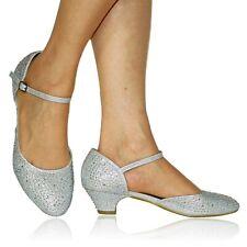 NEW Ladies Diamante Ankle Strap Party Bridal Flats Low Heel Court Shoe Size- 525