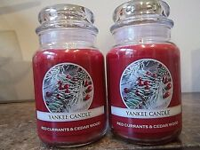 Lot of 2 Yankee Candles Red Currants & Cedar Wood   22 oz.  NEW   Free Ship