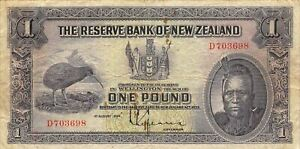 New Zealand  1  Pound  1.8.1934  P 155  Series D  Circulated Banknote WKSat