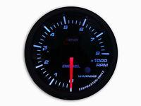 60MM DIESEL Tachometer Gauge Tacho 0-8000 RPM Smoked Lens - White LED W/Warning