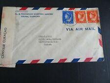 Curacao 142(2), 144 op brief Oranjestad - Cincinnati 1941 censuur Curacao