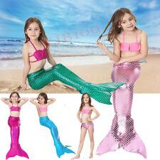 3 Piezas Set Niña Cola De Sirena Nadar Monoaleta Bikini Traje Baño Disfraz 4-14Y