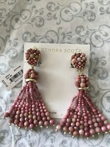 Kendra Scott Cecily Pink Rhodonite Agate Beaded Drop Gold Clip Earrings NWT $225