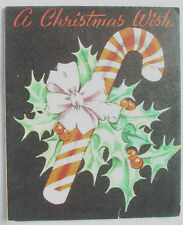 Candy cane and holly Christmas vintage greeting card C*