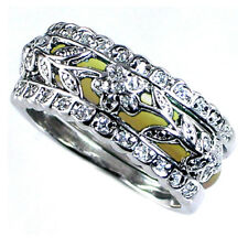 DESIGN REPLICA_RING SET_FLORAL VINE_CZ / YELLOW ENAMEL_SZ-9__925 Silver_NF
