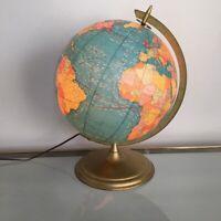 "Vintage Cram's Terrestrial Globe 12"" Light Up Atlas Map Retro Mid Century"