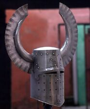 18 Guage Steel Medieval Great Knight Helmet With Metal Horns