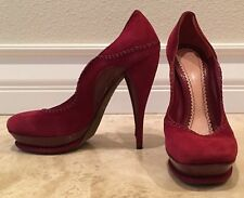 JOHN GALLIANO Burgundy Red Suede Leather Stiletto Heels Pumps EU39 US8.5M Italy