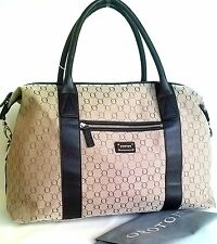 RRP$695 New OROTON Signature O Overnighter Travel Large Bag Handbag Brown