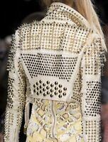 New Handmade Women White Fashion Studded Punk Style Leather Jacket