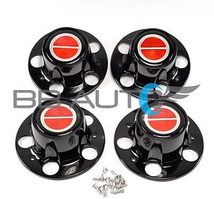 FORD RANGER BRONCO II EXPLORER BLACK CENTER CAP HUB SET RED EMBLEM CENTER NEW