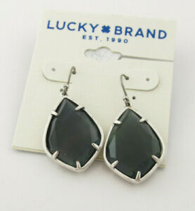 Lucky Brand Silver-Tone Black Mother-of-Pearl Drop Earrings