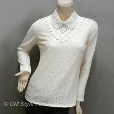 Dual Layered Beaded Sequined Collar Lace Blouse Top Beige M