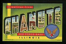 Military Large Letter linen postcard Chanute Air Force Base, IL Curt Teich