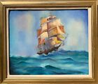Vintage Oil painting on canvas, seascape, Sailing ship, Signed, Framed