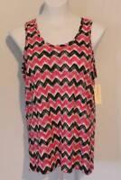 NEW Womens Tank Top Size Medium Ladies Pink Black Lace Sleeveless Shirt