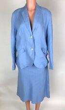 Lands' End Womens Blue Linen Skirt Suit Skirt Size 16 Jacket Size 14