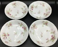 """(4) Theodore Haviland Limoges SCHLEIGER Scattered Flowers Coupe Soup Bowls 7.5"""""""