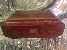 Boîte à bijoux XIXe Bois laqué chinoiseries 1880 compartimentée