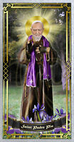 Saint St Padre Pio Italy laminated Prayer card. Saint Padre Pio Statue Art