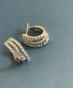 18ct White Gold Diamond Earrings 0.70ct Triple Hoops Nr 1ct