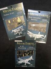 Metal Earth Lot Of 3 Planes Fokker Mustang Lancaster 3D Steel Metal Model Kits