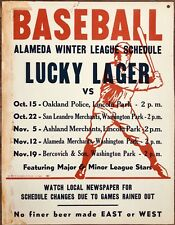 """New listing """"LUCKY LAGER"""" BEER (1950) vs OAKLAND POLICE Lou Gehrig Baseball Card Pose POSTER"""