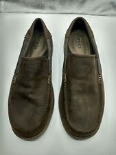 Men's Crocs Triple Comfort Slip on Shoes Brown Leather Santa Cruz Size M14