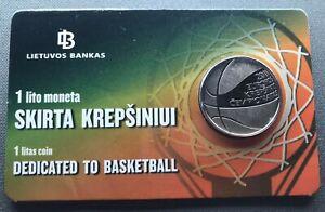Lithuania 1 litas  2011  European Basketball Championship coincard UNC
