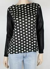 MIKA & GALA Jersey Knit w Vinyl Sleeves Top Sz 8 - Buy 5 Items = FREE POST #612