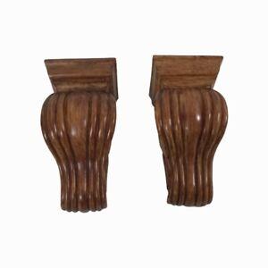 "Pair Corbel Curtain Rod Holders Scarf Swag Sconce Brown Wood Look 2.25"" Opening"