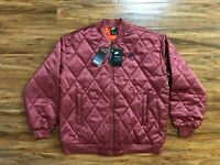 Nike Air Satin Quilted Loose Fit Jacket Burgundy BV2877-661 Women's Size Large