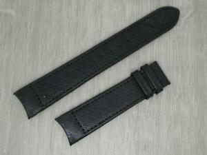 Men's Rotary Original Black,20mm,Grained Leather Curved Design Watch Strap