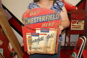 """Vintage 1940's Chesterfield Cigarettes Tobacco 2 Sided 17"""" Metal Flange Sign"""