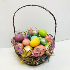 Wired & Crystal Easter Basket With 15 Pastel Glitter Satin Metallic Eggs