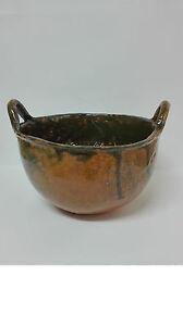 Antiguo Lebrillo de ceramica esmaltada con forma de Capacho Alfareria LA BISBAL.