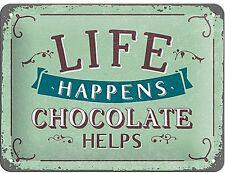 Nostalgic-Art Blechschild 15x20 Cm Life Happens - Chocolate Helps