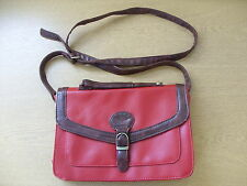 "Ladies Handbag Primark red & brown cross body small 10.5x7x3"" & strap, WORN 3265"