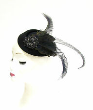 Black Peacock Feather Pillbox Hat Hair Fascinator Races Ascot Headpiece Vtg 2288