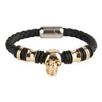 Fashion Gothic Punk Mens Boy Leather Skull Bracelet Wristband Gift Bangle