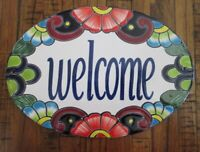 """Talavera Mexican Pottery Large 12.5"""" Welcome Wall Plaque Mexico Marked"""