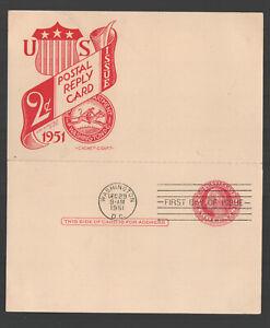 #UY13 1951 Wash Postal Reply Card Printing Error Cachet Craft Cachet UA G5677