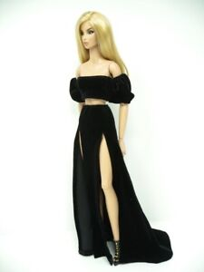 Black Velour Cropped Top & Skirt Handmade by KK Fits Fashion Royalty FR16 inch