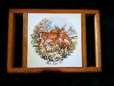 Vintage Ceramic Tile Wood Cutting Board Deer Field Hunting Camping Camper Rustic